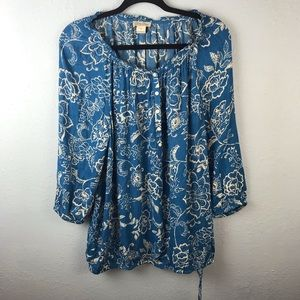 Lucky Brand plus size floral boho top blue hippie
